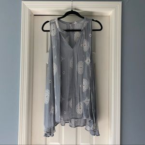 Free People Pale Blue Patterned Tunic